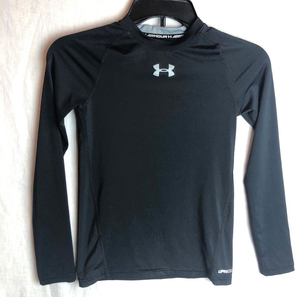 d47c140b Under Armour Boys Sonic Fitted HeatGear YMD Medium Black UPF 30 Long  Sleeves #Underarmour