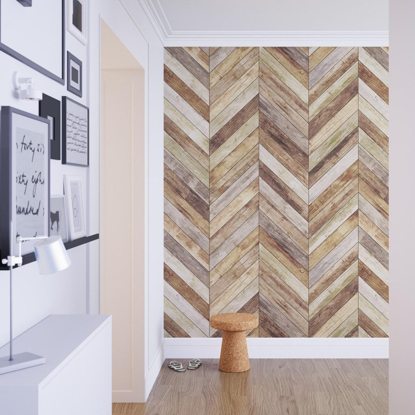Chevron Harringbone Wood Removable Wallpaper Wood Etsy In 2021 Wood Wallpaper Stick On Wood Wall Removable Wallpaper