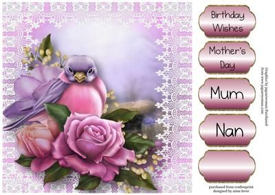 Beautiful Belle Roses Bird on Craftsuprint designed by Anne Lever - This lovely large square quick topper features the gorgeous 'Belle Epoque' roses and a beautifully painted belle bird, on a lace frame. It has four greetings to choose from and a blank greetings tile. The greetings are birthday wishes, mother's day, mum and nan.  - Now available for download!