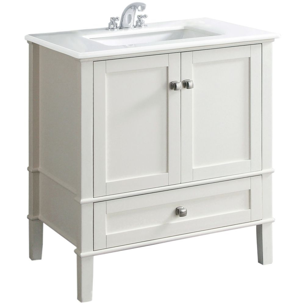 chelsea 30 inch w vanity in white finish with quartz marble top rh pinterest com