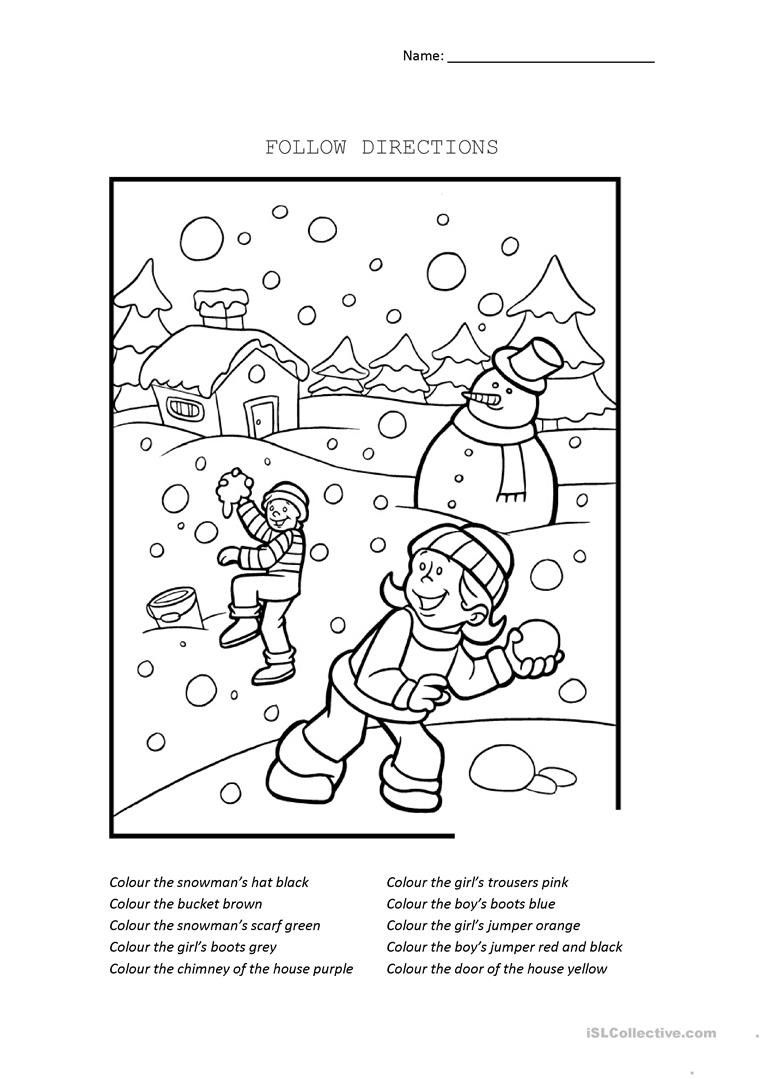 Following Directions Worksheets Kindergarten Follow Directions Worksheet Kindergarten Worksheets Christmas Math Worksheets