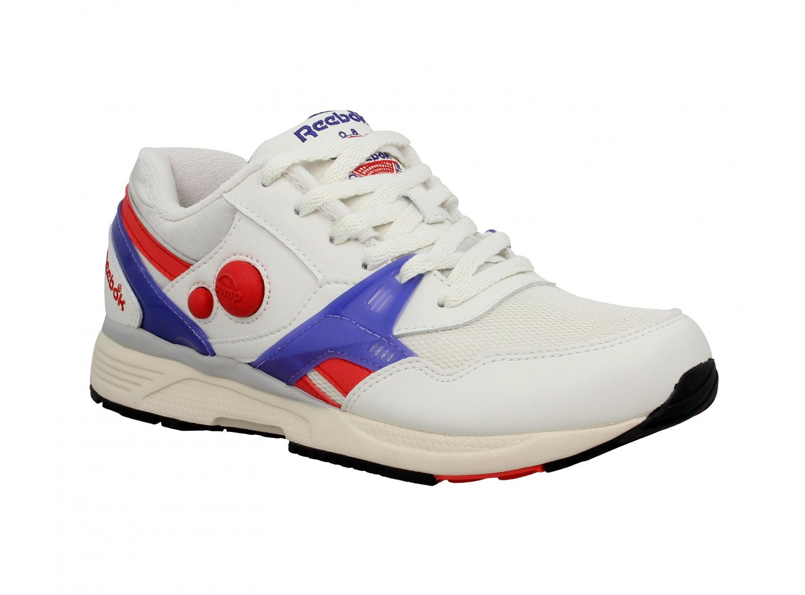 new arrival 5e540 595d4 REEBOK Pump Running Dual Vintage cuir + toile Homme Blanc + Rouge