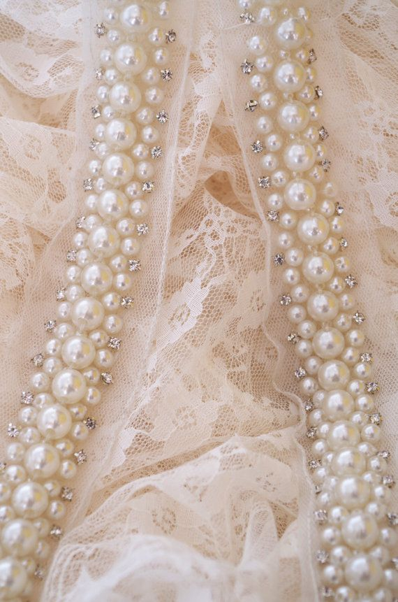 Pearl bead sash trim with rhinestones, rhinestone and pearl bead ...