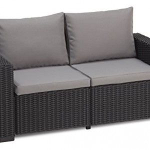 Rattan Garden Furniture Grey Cushions allibert california 2 seater sofa – graphite with grey cushions