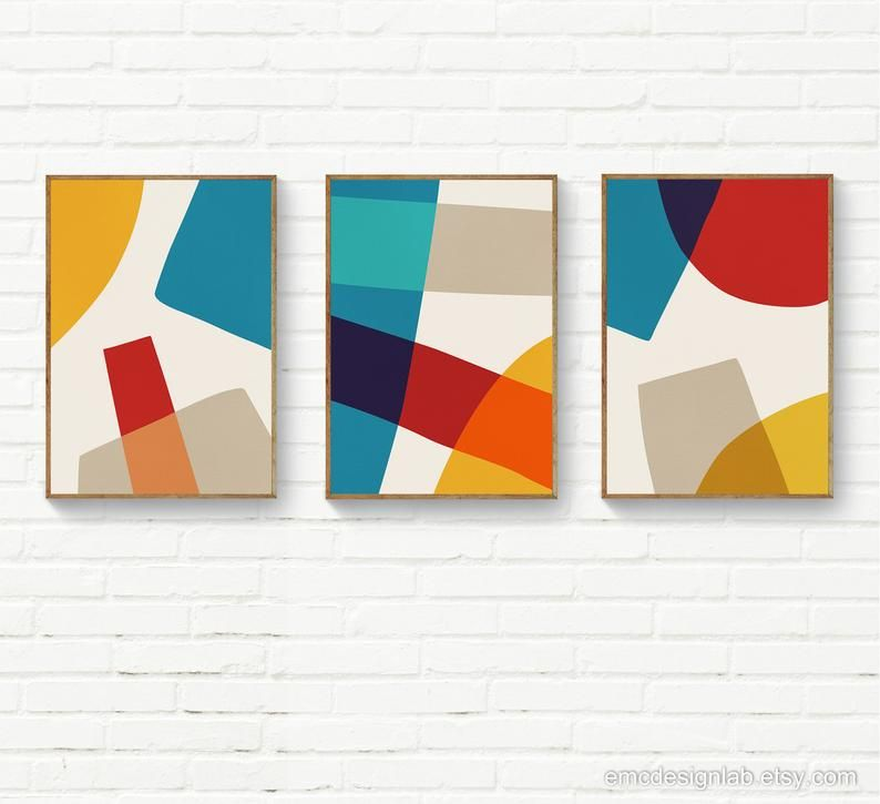 Bold Colors Geometric Abstract Print Yellow Mustard Red Blue Original Downloadable Art Mid Century Modern Contemporary Posters Abstract Poster Abstract Geometric Art Geometric Painting