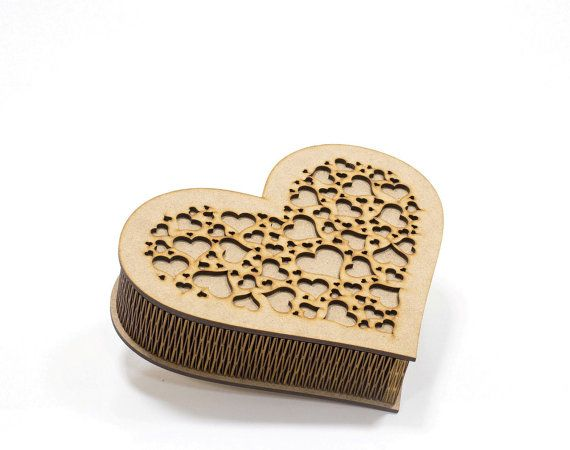 Heart shaped wooden decoupage box