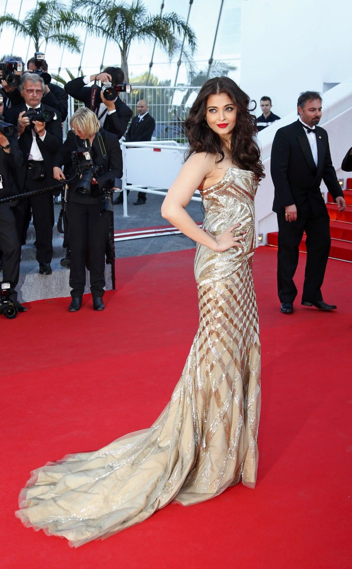 Bollywood Actress Aishwarya Rai Poses On The Red Carpet As She Arrives For The Screening Of Th Cannes Film Festival 2014 Cannes Film Festival Bollywood Actress