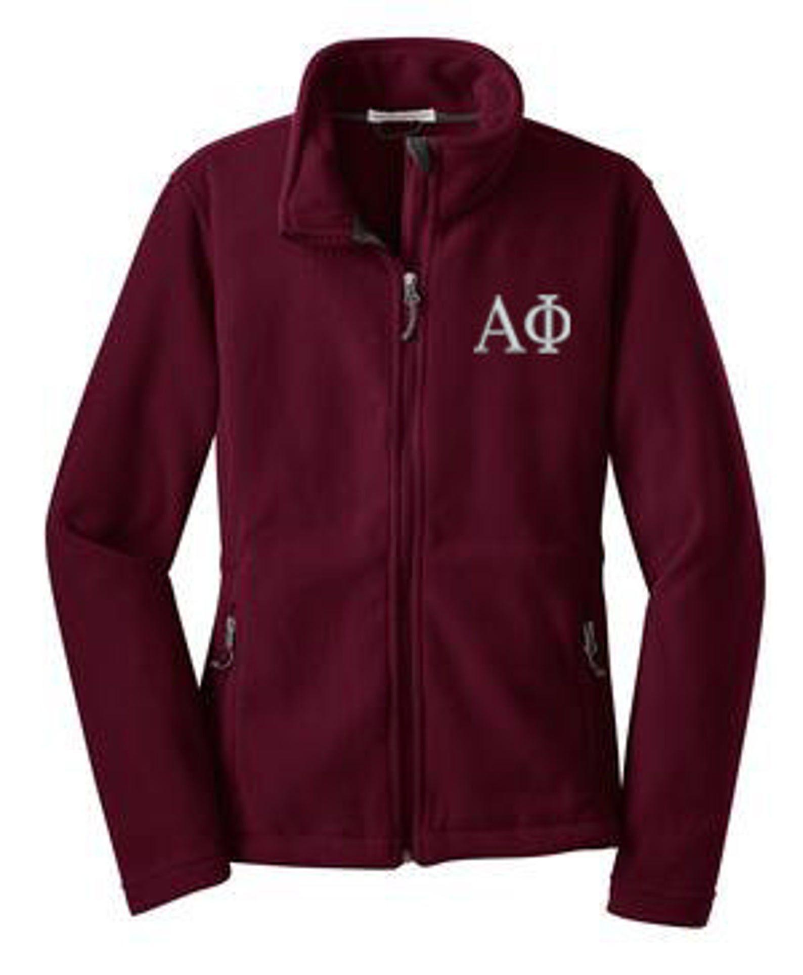 Alpha phi fleece zip cadet af fleece zip jacket alpha
