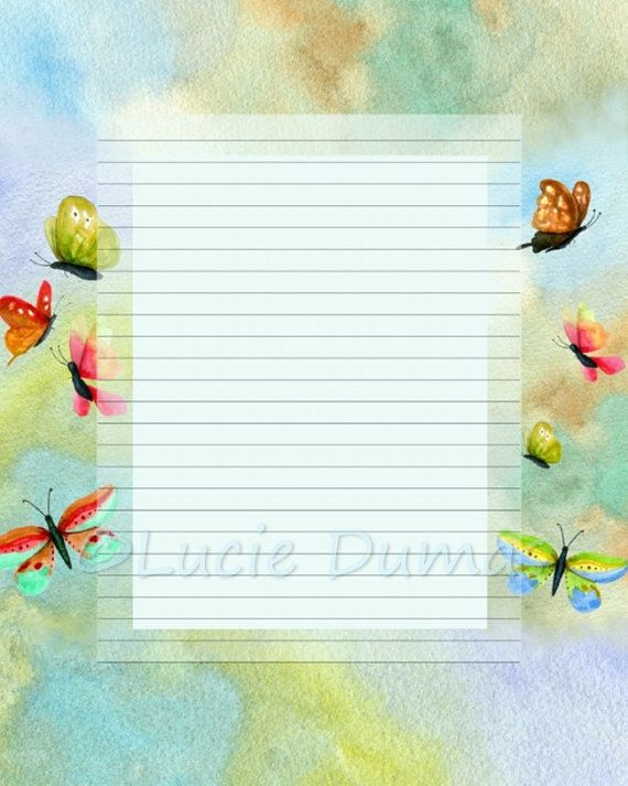 Digital Printable Journal Page Stationary 8x10 Butterflies by - 8x10 resume paper