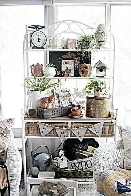 What S New In The Sunroom Bakers Rack Decorating Bakers Rack Decor