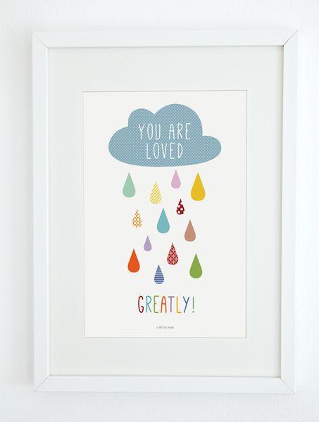 """Dekoration Kinderzimmer Bild """"You are loved!"""" DIN A4"""