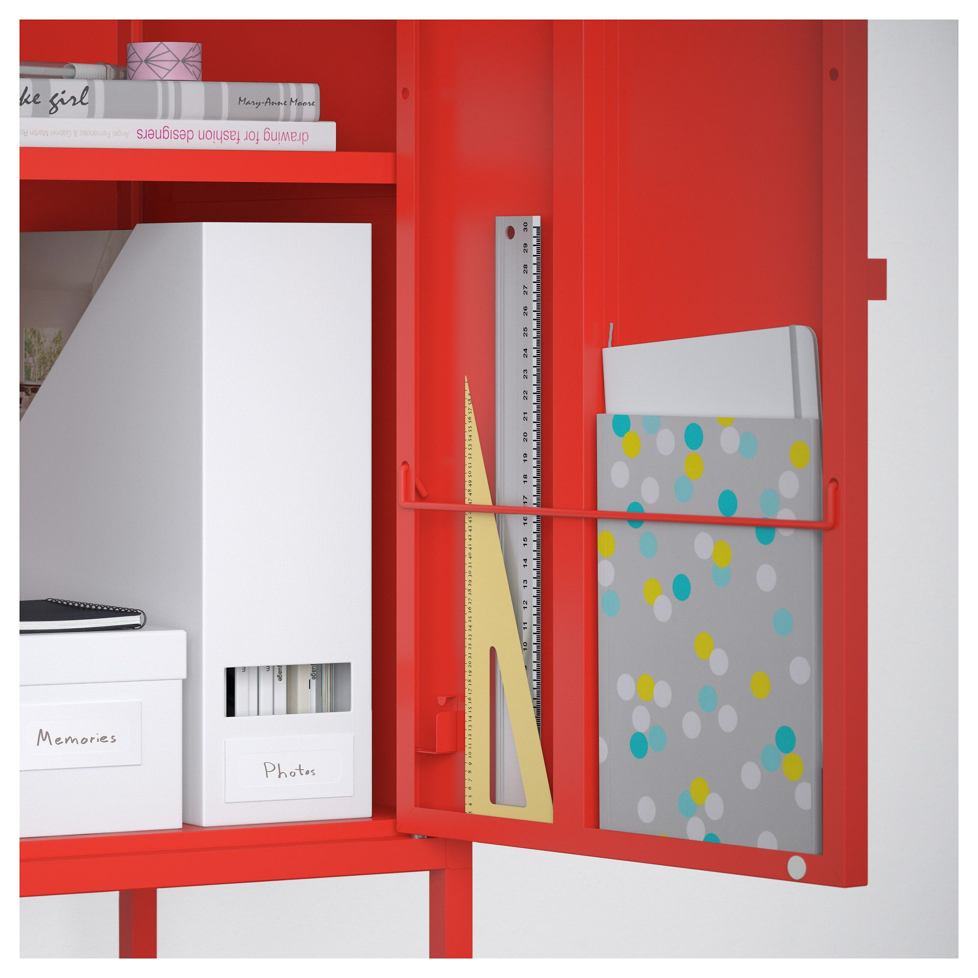 Lixhult Storage Combination Gray Red Metal Storage Cabinets Ikea Red Cabinets