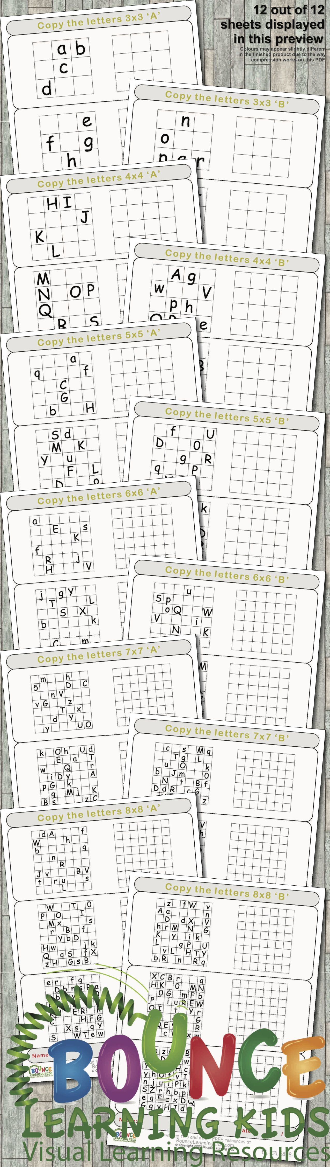 Copy Letters 12 Hand Eye Coordination Sheets