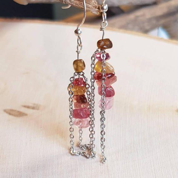 October Birthstone Dangle Earrings Watermelon Tourmaline Earrings Dainty Earrings Gifts For Her Silver Earrings Chain Earrings
