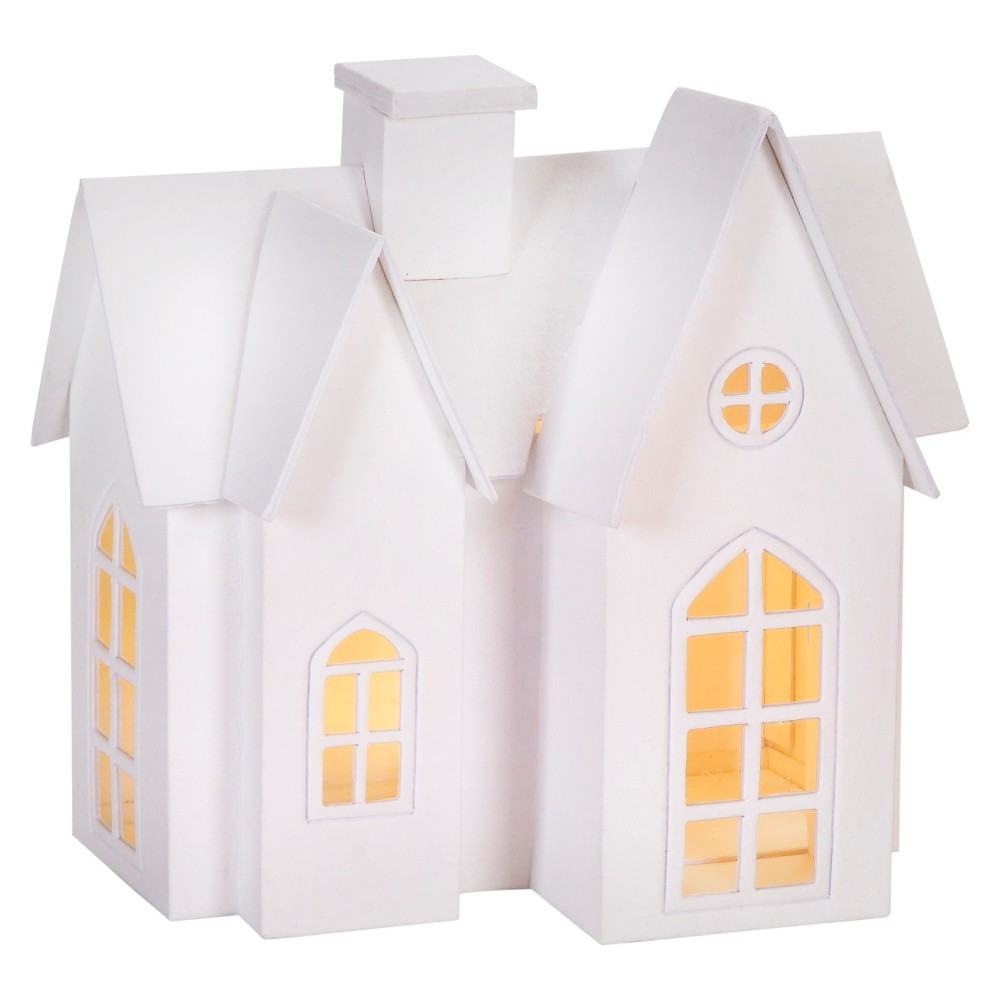 Hand Made Modern - Paper Craft Led-lit House - Large, White