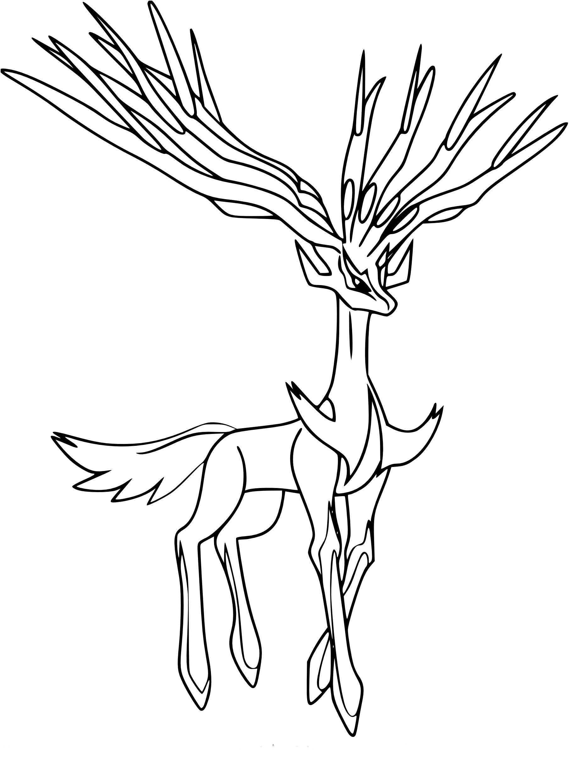Coloriage Xerneas Pokemon In 2020 Moose Art Art Pokemon