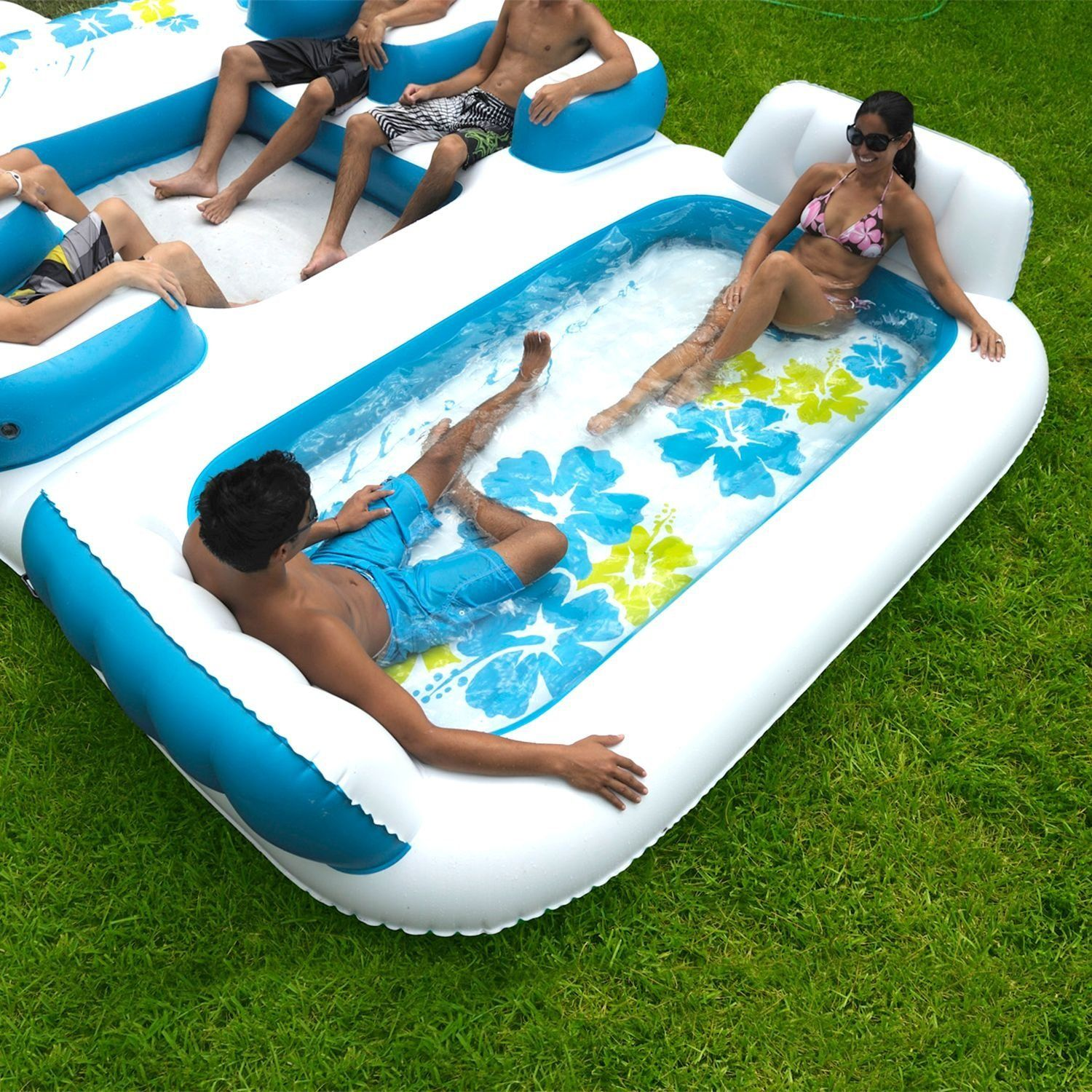 amazon com new giant inflatable floating island 6 person raft