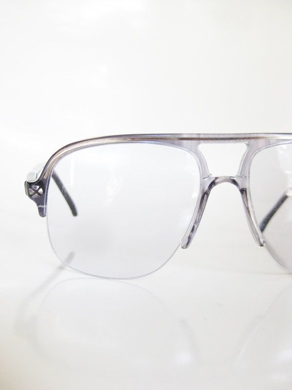 946c590c5f9 Vintage Italian Sunglasses Mens Eyeglasses Double Aviator Sunnies 1970s  Oversized Dark Smoke Grey Clear See Through Transparent Huge Hip Hop