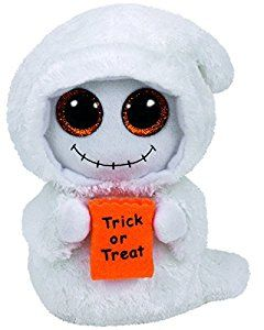 Mist the ghost is holding a trick or treat bag waiting to be filled with candy.