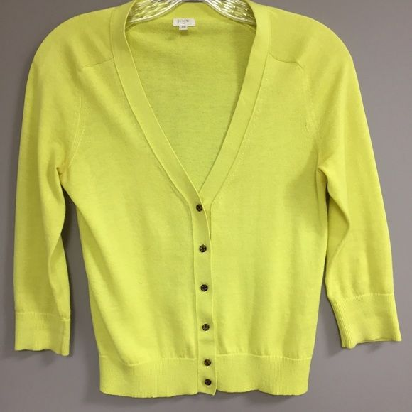 J. Crew Sweet Yellow/Lime Cardigan This J. Crew little 3/4 length sleeve cardigan is great to throw over a sleeveless dress or with jeans. The sweater features tortoise shell buttons. J. Crew Sweaters Cardigans
