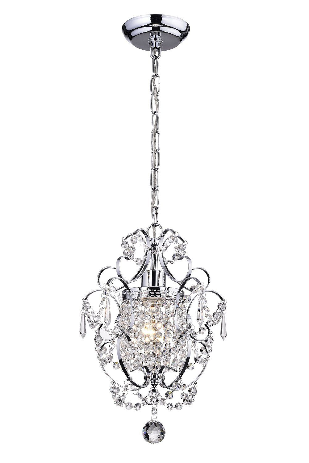 on sale 91585 e726f Amorette Chrome Finish Mini Chandelier Wrought Iron Ceiling ...