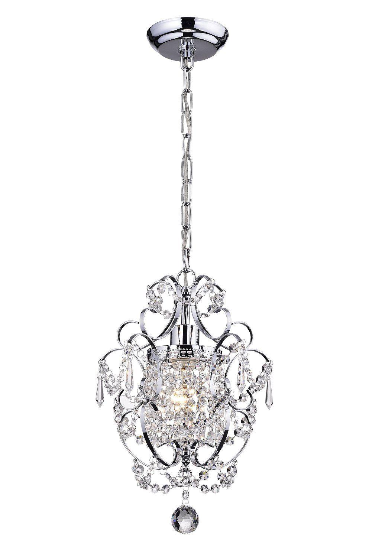 Amorette Chrome Finish Mini Chandelier Wrought Iron Ceiling Light