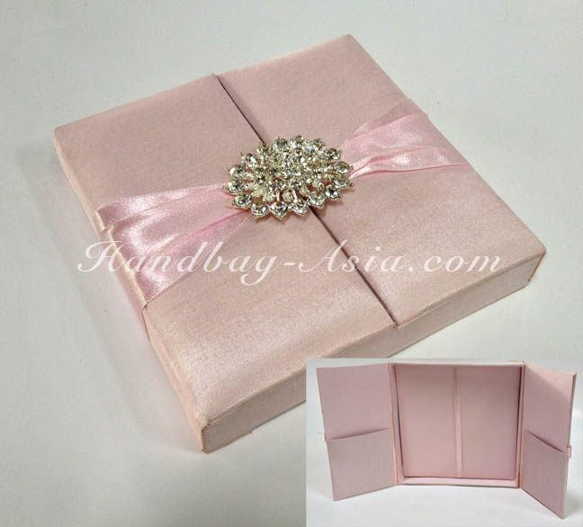 soft pink wedding invitation box