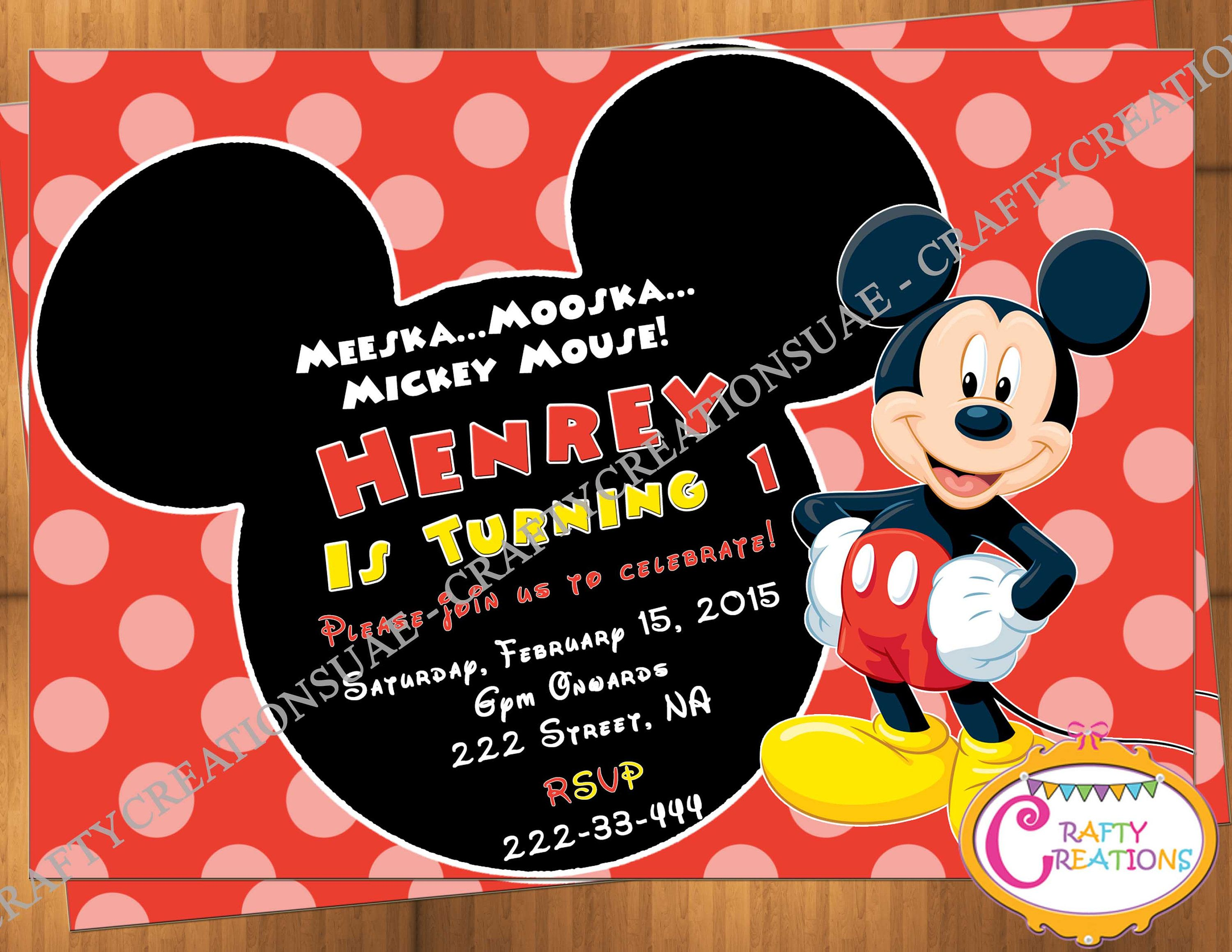 MICKEY MOUSE Birthday Invitation - Mickey Mouse Party Invite ...