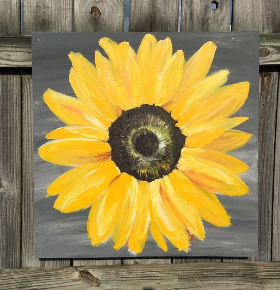 Large Sunflower Original Painting On Wood Panel Distressed Art Yellow And Gray Canvas Painting Diy Sunflower Painting Cute Canvas Paintings