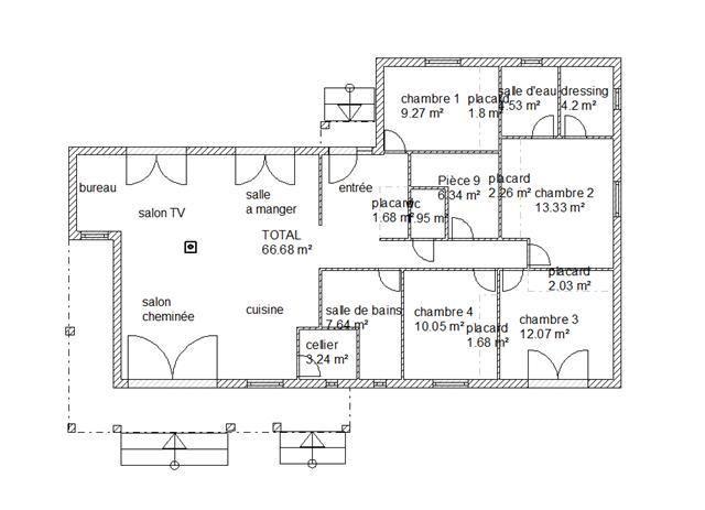 Maison plain pieds 4 chambres plan maison pinterest for Plan habitation