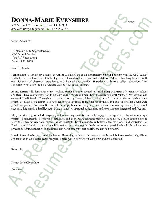 Elementary Teacher Cover Letter Sample Cover letter sample, Letter - cover resume letter examples