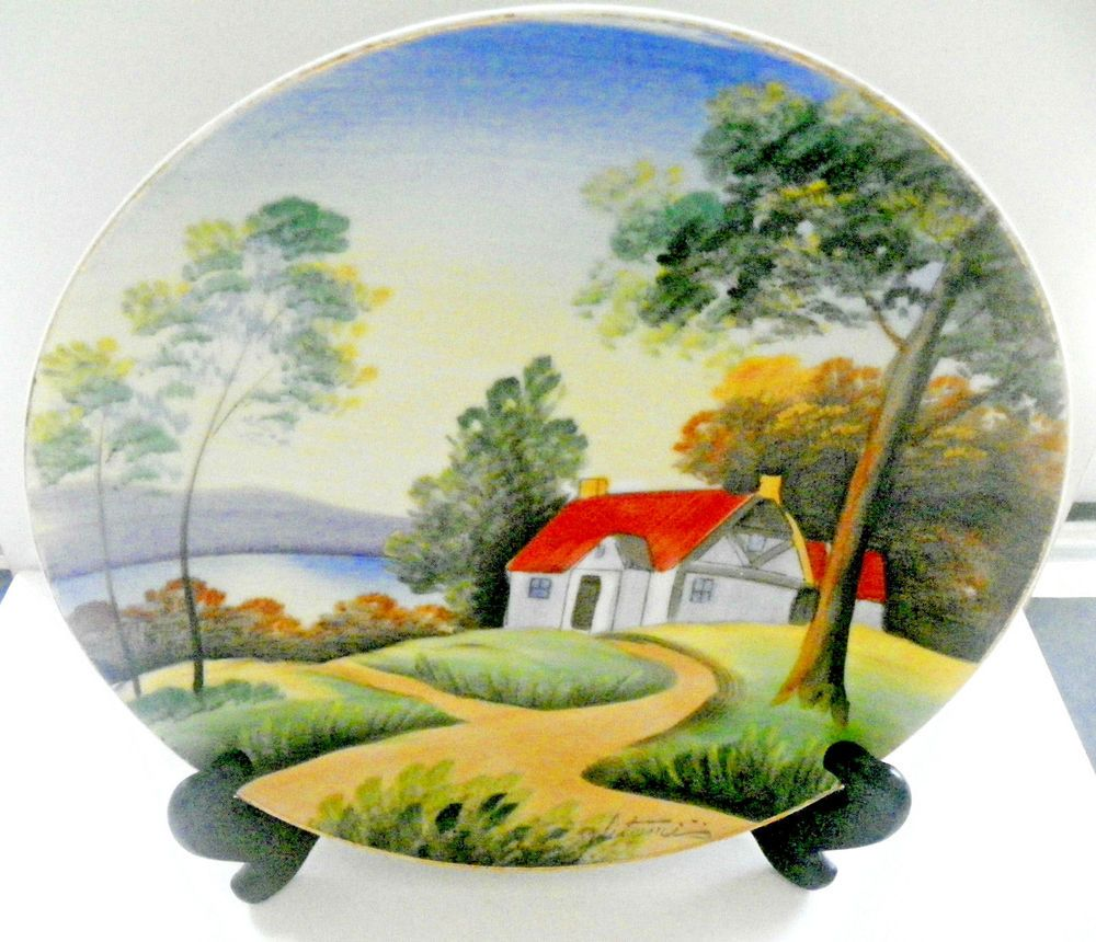 Vntg Hand Painted Made In Japan Wall Decor Plate Outdoor Scene ...