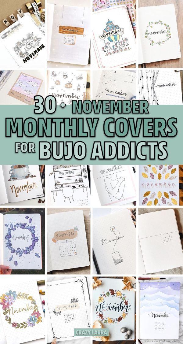 30+ Creative November Monthly Cover Ideas For 2019 #novemberbulletjournalcover