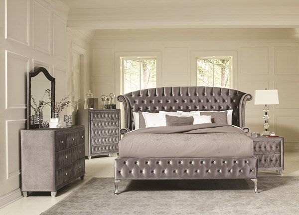 Coaster Furniture Deanna Grey Master Bedroom Set Upholstered Bedroom Bedroom Set King Bedroom Sets