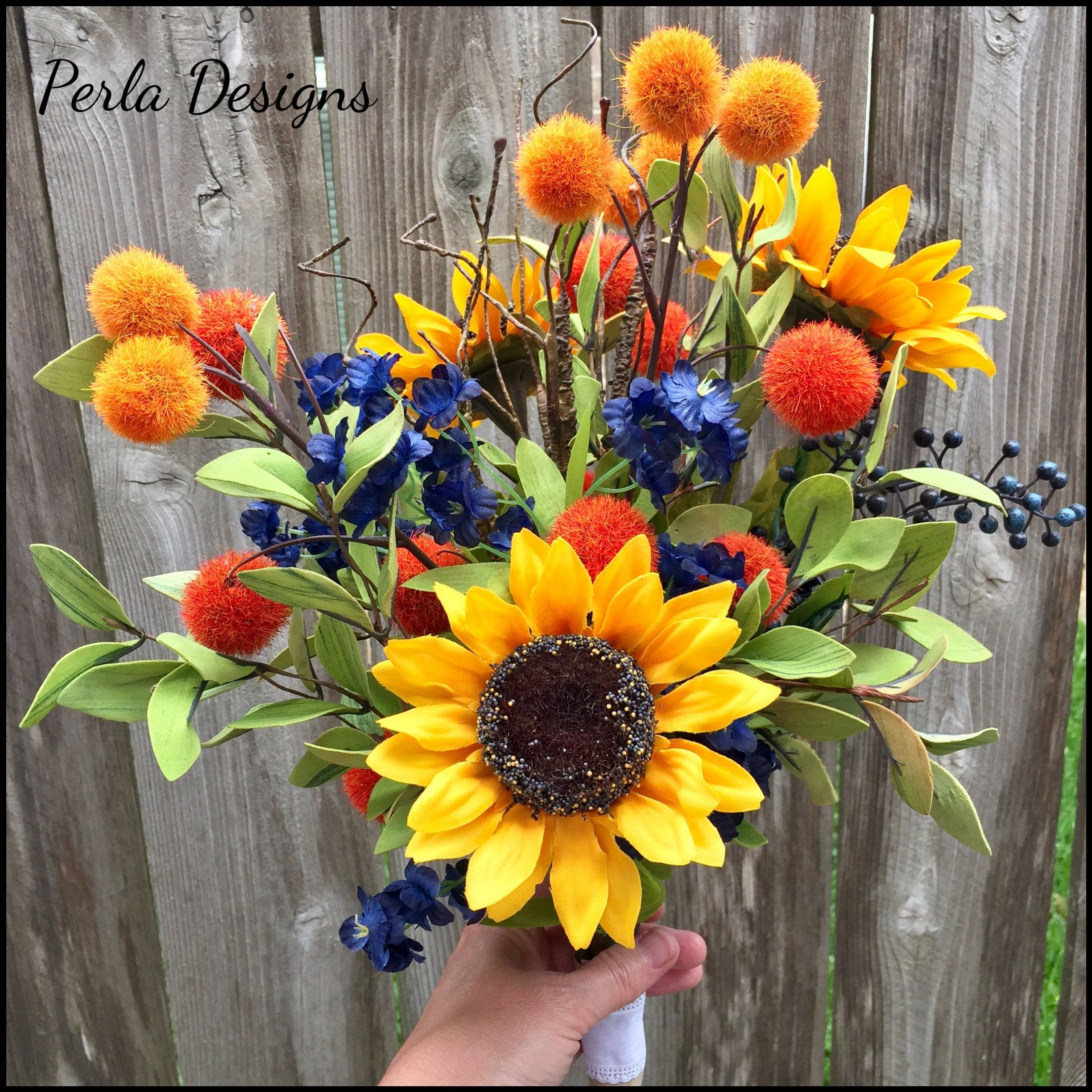 Sunflower Yellow and Navy Floral Bouquets, Rustic Wedding, Rustic ...