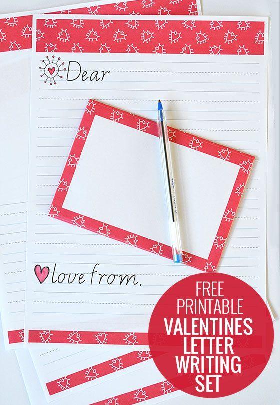 Free Printable Valentines Letter Writing Set  Free printable