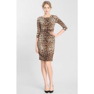 56% off Dolce & Gabbana - Stretch Silk Dress Natural Leopard Print Black - $1,229.98