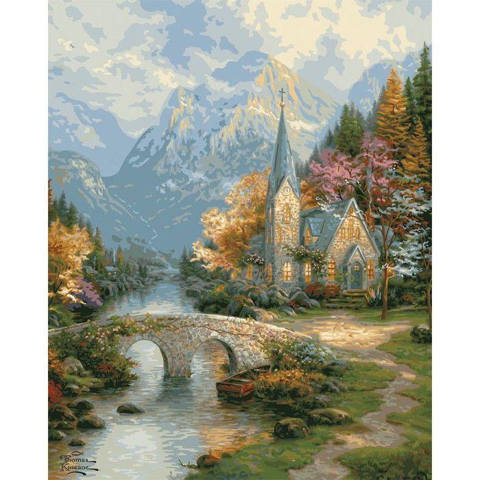 Часовня в горах Раскраска картина по номерам Plaid PLAID ...