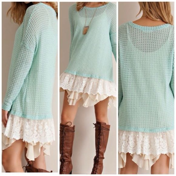 ️Oversized Slouchy  Boyfriend Knit Mint feminine sweater tunic NWOT which is semi sheer and runs big for the style is meant to be Loose oversized look.Tank is not included and only shown for styling purpose . ️️Lace hemline is attachéd and the this is shown worn over a tank dress second layer ! You can wear a dress extender to get the look of looks with light : nude under garments . Size S /M only Vivacouture Sweaters