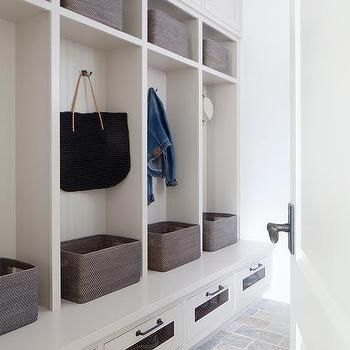 White Beadboard Mudroom Lockers with Woven Bins