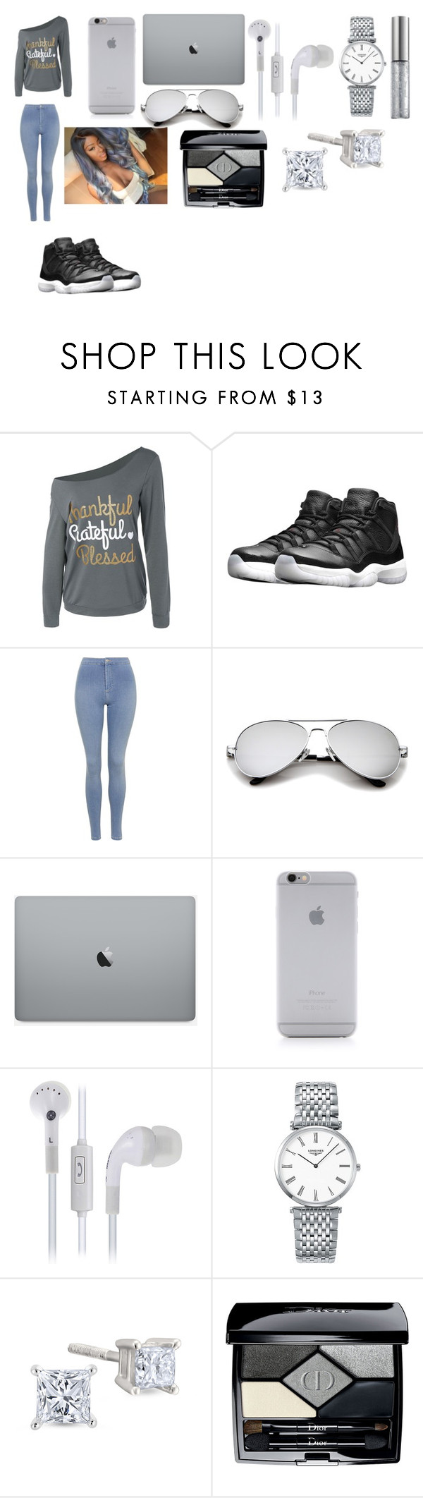 """Swaggin Out In All Grey"" by breezybrebre on Polyvore featuring beauty, NIKE, Topshop, Native Union, Longines, Christian Dior and Urban Decay"
