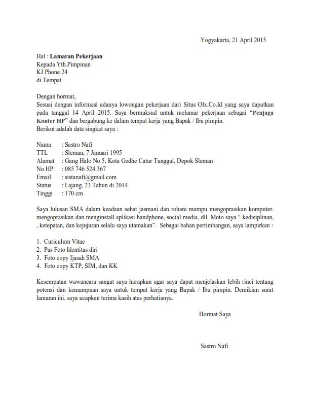Contoh Surat Lamaran Kerja Sebagai Penjaga Konter Surat Tulisan Cv Kreatif