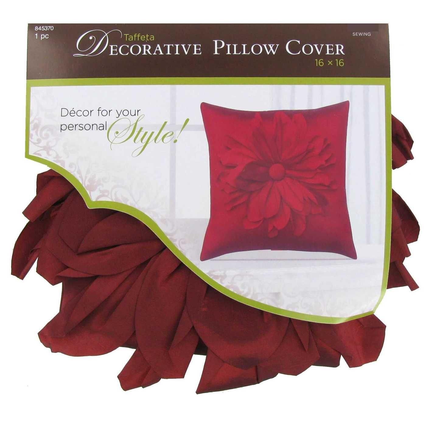 "Dark Red 16"" x 16"" Taffeta Pillow Cover with Big Flower"