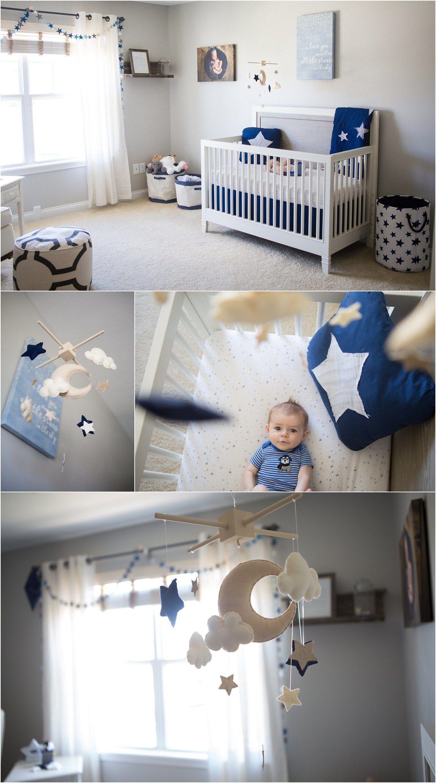 Star & Moon Themed Boy's Nursery - Grey, Navy Blue, Gold ...