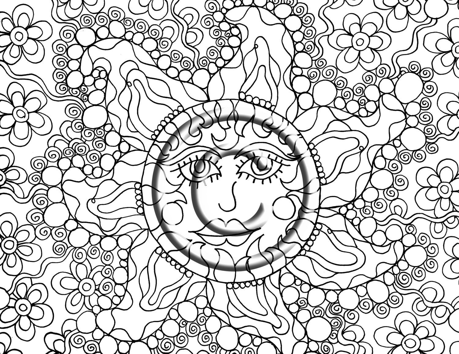 Instant PDF Digital Download Coloring Page Hand Drawn Zentangle ...