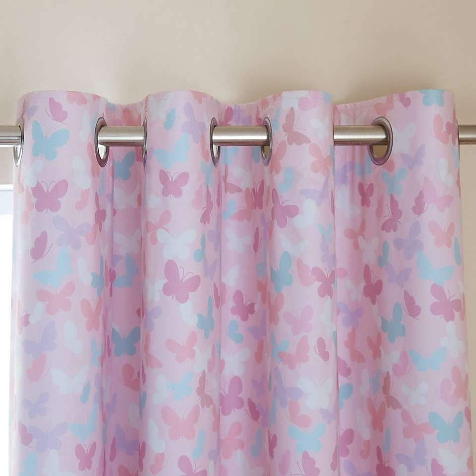 Maisie Heart Pink Blackout Eyelet Curtains Blackout