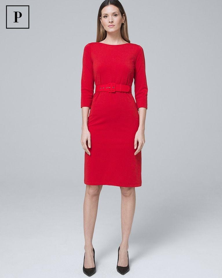 3afecbc86d Women s Petite Polished Knit Belted Sheath Dress by White House Black Market