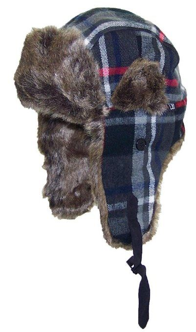 17425d8c Amazon.com: David & Young Plaid Trooper/Trapper Winter Hat w/Softer Than  Mink Faux Fur (One Size) - Black/Red: Clothing