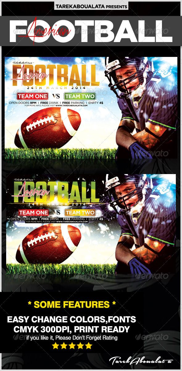 All American Football Flyer Template  American Football Flyer