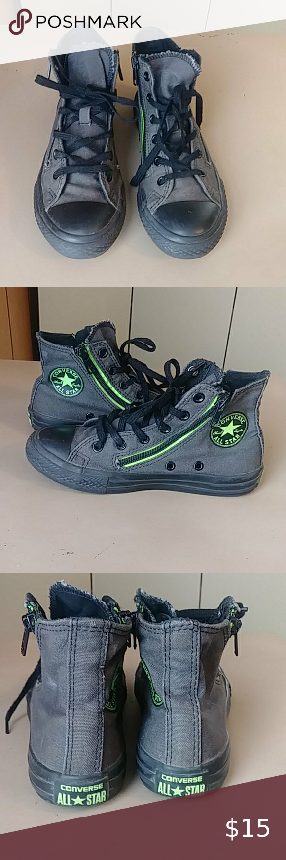 Converse High Top Double Zipper Sneakers Gray, black and lime green Chuck Taylor…